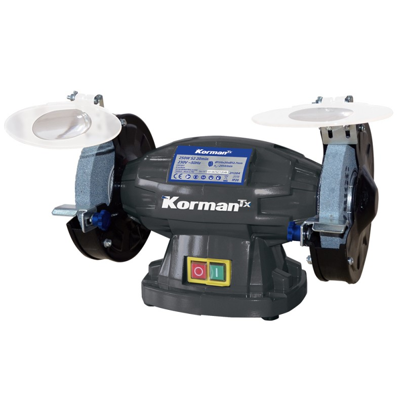 Touret à meuler 250W Ø150mm  ( Tronconneuse à métaux et touret )  Korman.fr