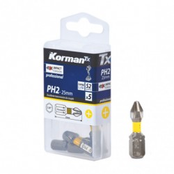 LOT 5 EMBOUTS PH2 25MM S2  ( Embouts de vissage )  Korman.fr