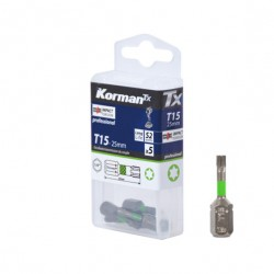 LOT 5 EMBOUTS T15 25MM S2  ( Embouts de vissage )  Korman.fr