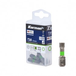 LOT 5 EMBOUTS T30 25MM S2  ( Embouts de vissage )  Korman.fr